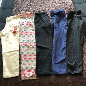 5 pair of girls 6/6x stretch pants